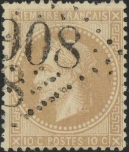 FRANCE - Yv.28A 10c bistre (type I) ob. GC908 (Chartres) - 2 ou 3 dents courtes