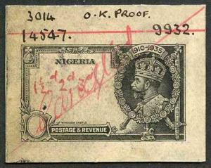 Nigeria 1935 Silver Jubilee Die Proof Wove Paper Unique (From Waterlow Archives)