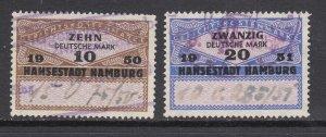 Germany, Hamburg, 1950 10Mk and 1951 20Mk Court Fee revenues, used, sound