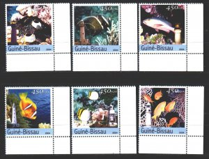 Guinea-Bissau. 2004. 2789-93. Fish, fauna, lighthouses. MNH.
