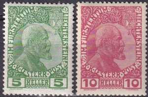 Liechtenstein #1-2  F-VF Unused CV $127.50  (Z3140)