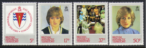 British Antarctic Territory #92-5 mint set, Princess Diana