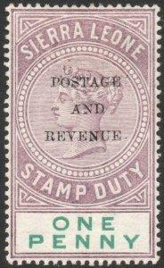 SIERRA LEONE-1897 1d Dull Purple & Green Sg 54 MOUNTED MINT V42863