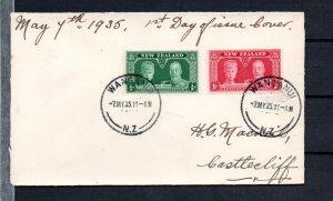 NEW ZEALAND 1935 JUBILEE 2 VALUES ON FDC