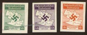 3rd Reich Germany 1938 Czech Sudetendeutsches Niederlande Stamp Set MH Im 104683