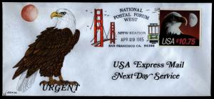 US Scott 2122 $10.75 Hand Painted Express Mail National Postal Forum FDC