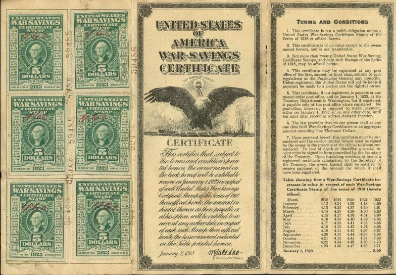 #WS2 WAR SAVINGS CERTIFICATE COMPLETE 20 STAMPS WWI VERY RARE HW1923
