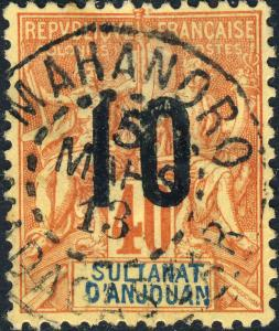 ANJOUAN / MADAGASCAR - 1913 CàD MAHANORO sur Yv.26 / Mi.107.I 10c/40c