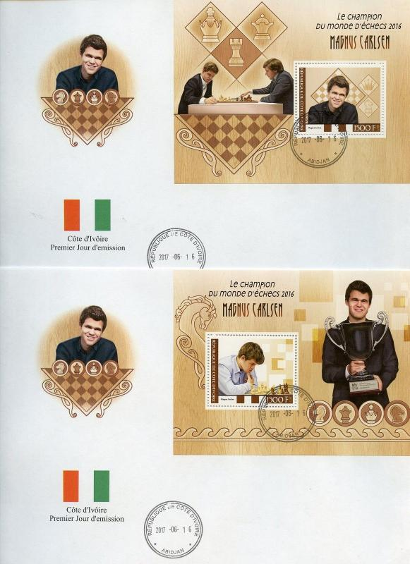IVORY COAST 2017  MAGNUS CARLSEN CHESSMASTER SET OF TWO SOUVENIR SHEETS ON FDCs