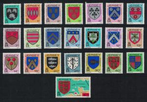 Jersey Definitives Arms of Jersey Families 22v perf 14 COMPLETE SG#249=273