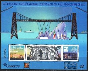 Spain. 2017. bl 301. Bridge, ship, philatelic exhibition. MNH.