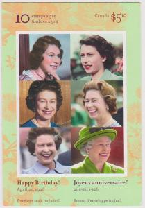 Canada USC #BK321 QE II 80th Birthday Pane of Ten in Complete Booklet VF-MH