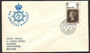GB SCOTLAND 1970 cover MS PRINCES MARGRIET ship cachet.....................13687