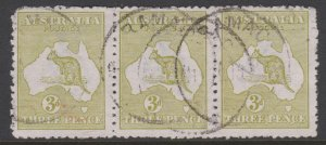 Australia Sc#5 Used - Inverted Watermark - Strip of 3