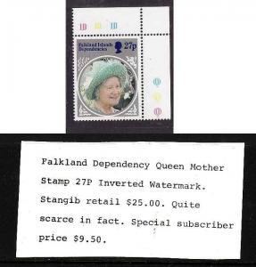 Falkland Islands Dependencies-Sc#194-unused NH 27p Queen Mother birthday-Inverte