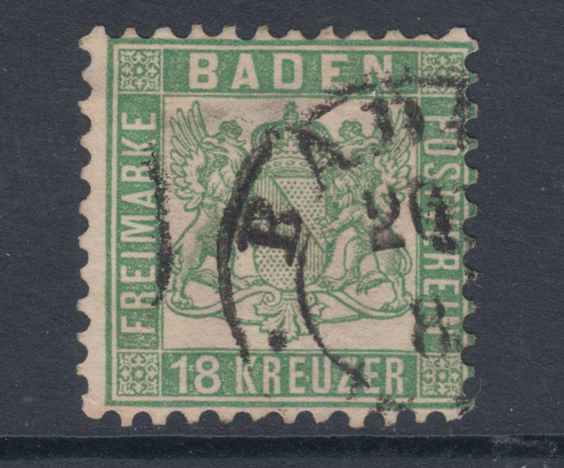 Baden Sc 24, Mi 21a used 1862 18kr green Coat of Arms, perf 10. Scarce