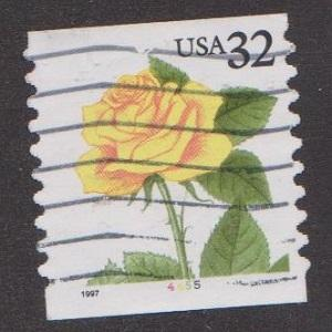 US #3054 Yellow Rose Used PNC Single plate #4455