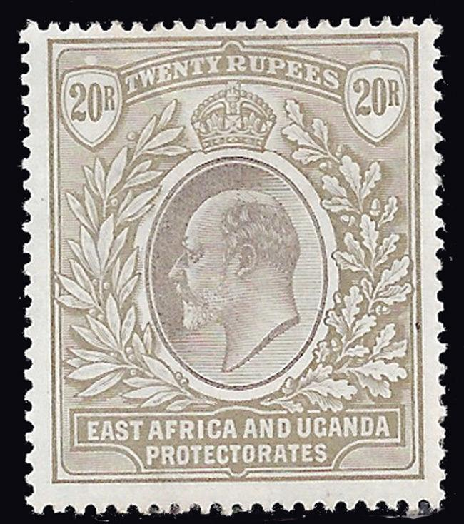 British East Africa stamps EDVII 20rs grey & stone (SG 15) ₤750 / $970