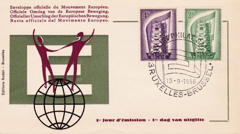 Belgium 1956 Europa (2) on Clean First Day Cover