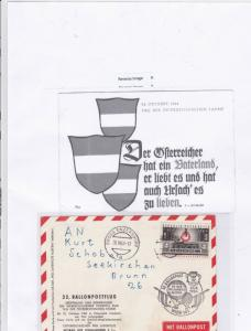 austria 1964 balloon airmail stamps cover Ref 9903
