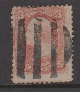 USA 1867 3c Washington Sc#85c Pink Shade With Grill