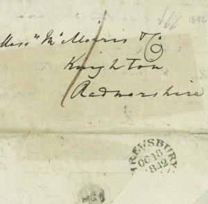 B181 GB WALES Cover 1842 Shrewsbury Paid RADNORS *Local Delivery Charge* RARE