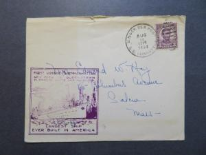 US 1932 SS Manhattan Maiden Voyage Cover Cacheted / Sm Top Tear - Z7958