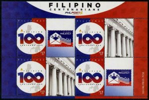 HERRICKSTAMP NEW ISSUES PHILIPPINES Centenarians S/S of 4 with Labels