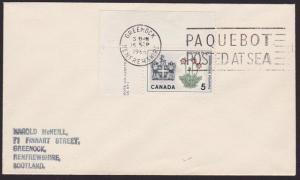 CANADA USED IN SCOTLAND 1966 cover Greenock Paquebot machine...............7328