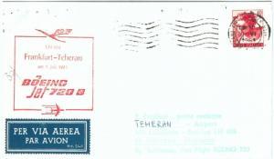 70960 - ITALY - Postal History - SPECIAL FLIGHT:   Frankfurt - Teheran 1961