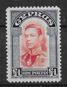 CYPRUS SG163 1938 £1 SCARLET & INDIGO MTD MINT