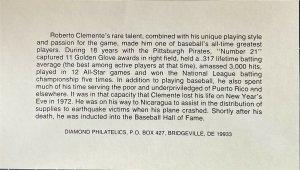 Diamond Philatelic 2097 Pirates Roberto Clemente Carolina Puerto Rico Signature