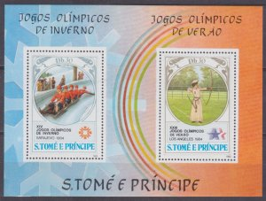 1983 Sao Tome and Principe 877-878/B142 1984 Olympic Games in Los Angeles / Sara