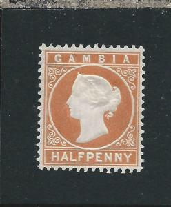 GAMBIA 1880-81 ½d ORANGE MM SG 10B CAT £19