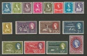 KUT 1960 QEII Definitives Complete Set MNH SG183-SG198 Sc120-Sc135