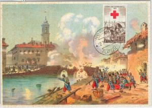 59135  -  ITALY - POSTAL HISTORY: MAXIMUM CARD 1959  -  MILITARY Red Cross