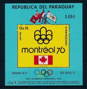 [35593] Paraguay 1975 Olympic games Montreal Souvenir Sheet MNH