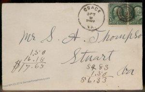 Virginia 1899 Osage VA DPO Cancel Helbock R5 Cover Stuart 92407
