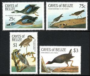 Cayes of Belize 22-25,MNH.Audubon's birds.Blue-winged teal,Sandpiper,Heron,1985