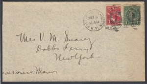 US Sc Q1 - 1925 Vertical BISECT on cover to Dobbs Ferry NY, w/ APS cert