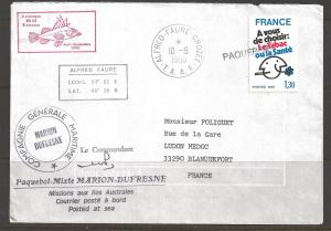 1980 Paquebot Cover, French stamp, Alfred-Faure-Crozet T.A.A.F. Antarctica