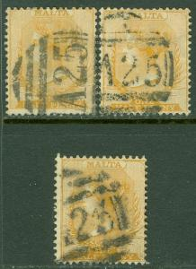 EDW1949SELL : MALTA 1882 Scott #7. 3 Choice VF Used with 'A25' cancels Cat $172+