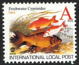 Fish: Koi (Carp) Intl. Local Post Stamp - MNH - Cinderella