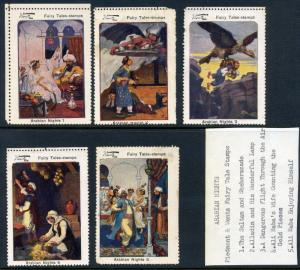 Wentz Arabian Nights Complete Set of 5 Large Cinderella POSTER STAMPS (Lot #W1)
