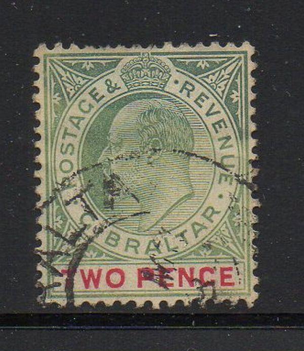 Gibraltar Sc 52a 1907 2 d  Edward VII stamp used