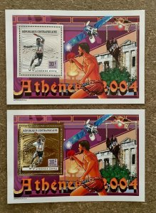 Stamps Deluxes blocs Olympic Games Ping-Pong Athénes 2004 CentralAfrica perf.