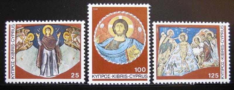 CYPRUS Sc#574-576 CHRISTMAS ANGELS BAPTISM OF CHRIST MNH