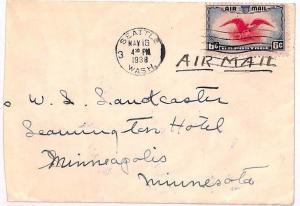 USA Cover Internal Air Mail Seattle Minnesota Minneapolis 1938 {samwells}VV432