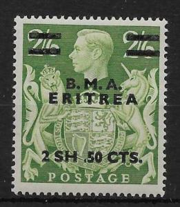 B.O.I.C.-ERITREA SGE10a 1948 2s50 ON 2/6 YELLOW-GREEN MISPLACED STOP MTD MINT