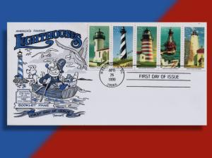 Lighthouse Booklet Pane of Five on Cachetoons 1990 FDC